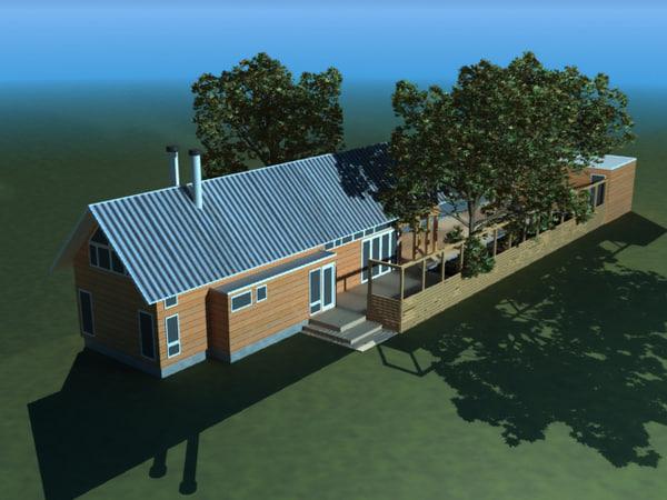 3d ranch pool house model