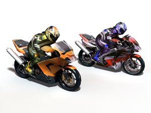 kawasaki ninja bikers 3d model