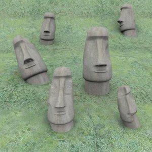 statues easter island obj