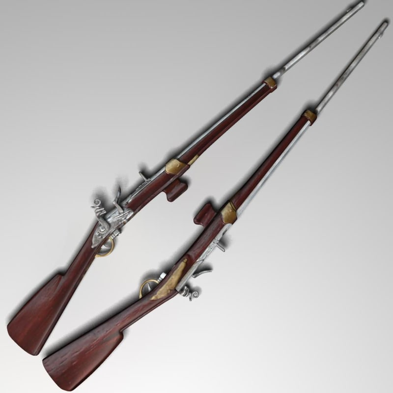fusil retrocarga 1757 3d max