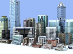 3d small medium rise buildings