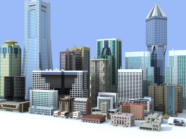 3d small medium rise buildings