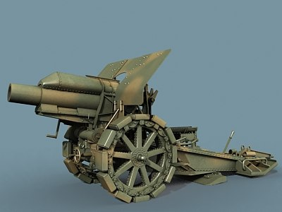 german howitzer wwi 3d model