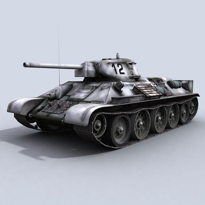 t-34 76 russian tank 3d model