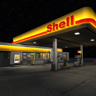 shell gas station store 3d model