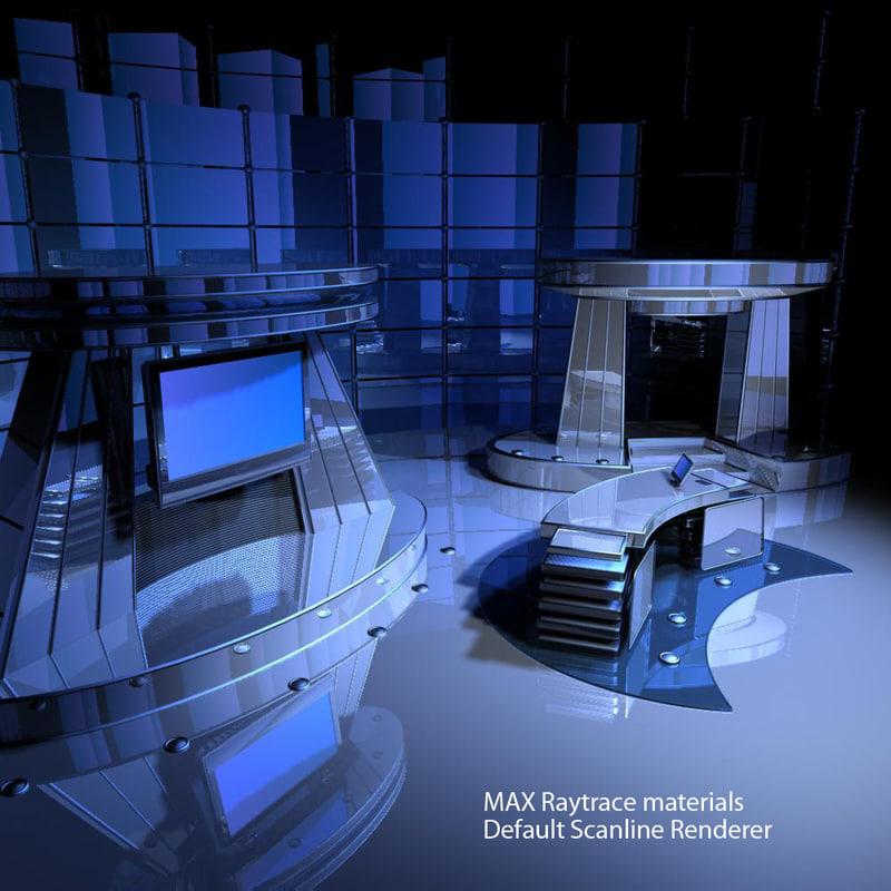 3d broadcast virtual tv studio model