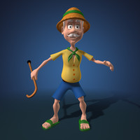 3d cartoon grandfather character animation model