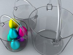 3d model glass basket easter eggs