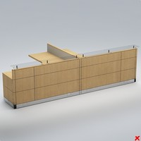 3d counter desk model