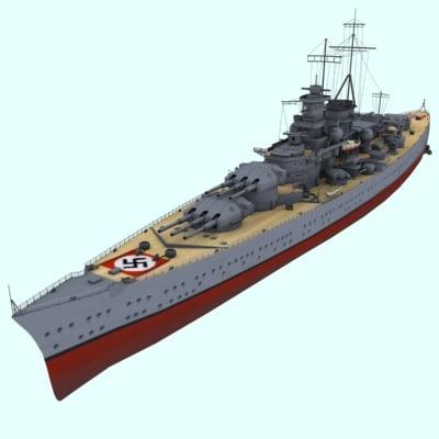 scharnhorst german panzerschiff 3d model