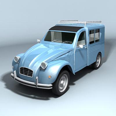 3d model of classic van minivan