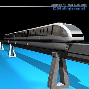 3d c4d monorail train