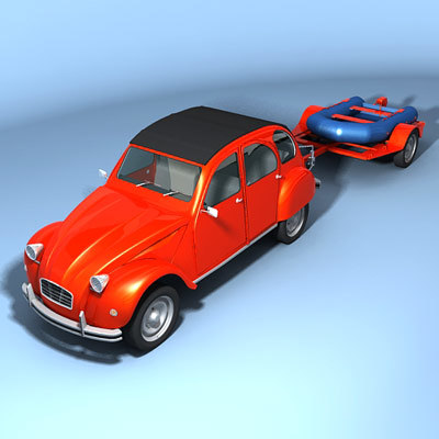 3ds max duck dinghy trailer