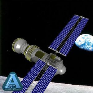 3d model orbiting satellite