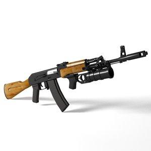 ak-74 assault rifle 3d model