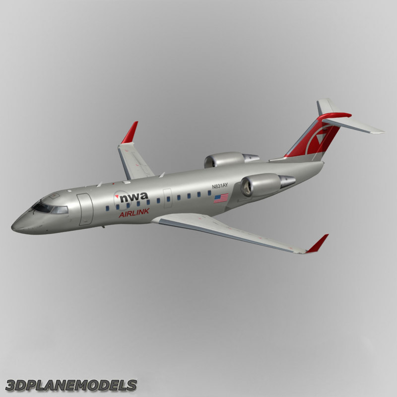 3d bombardier crj-200 northwest airlines model