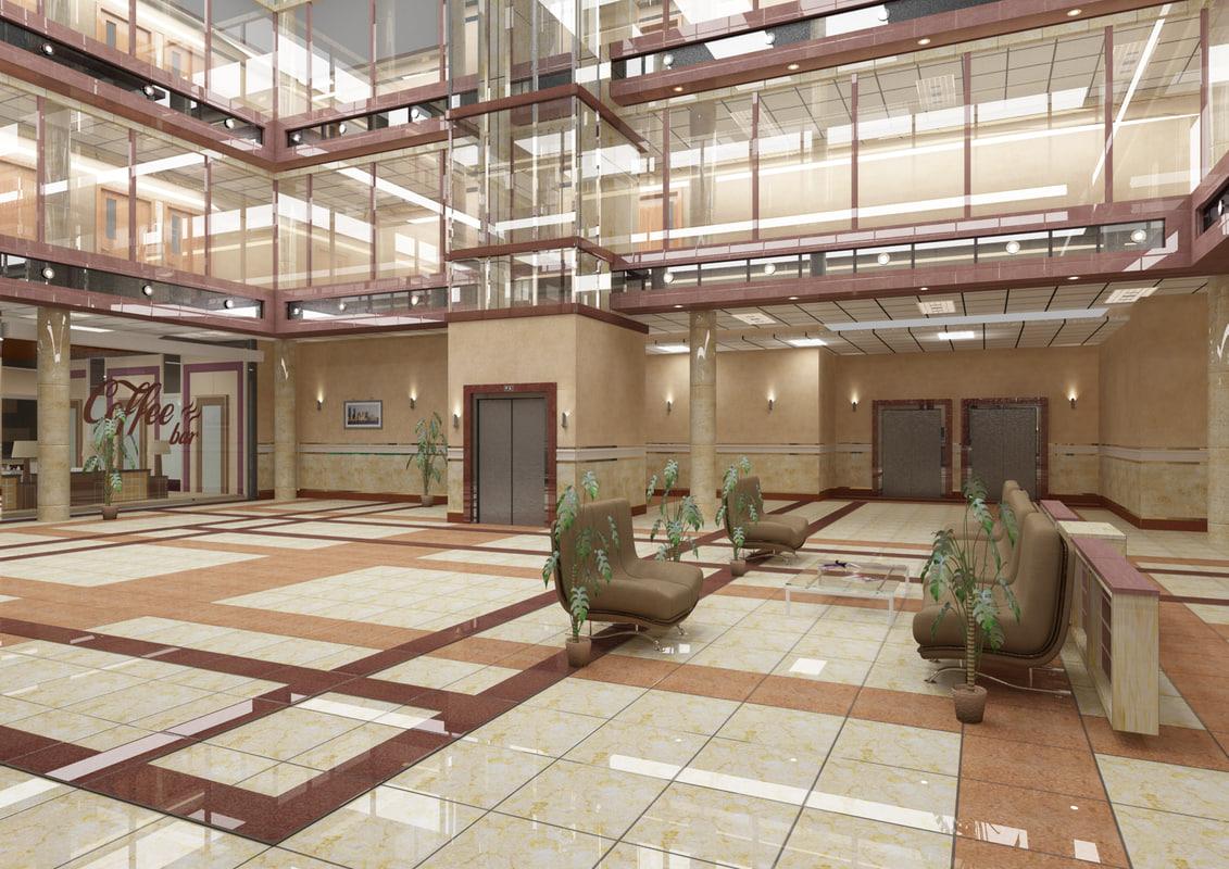 business center hall 3d model