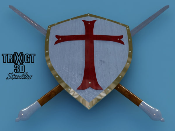 3d templar sword shield