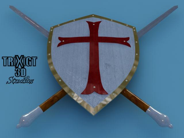 3d templar sword shield
