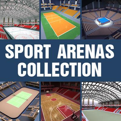 sport arenas basketball volleyball 3d c4d
