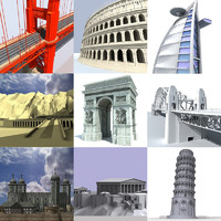 pack landmarks coliseum bridge 3d 3ds