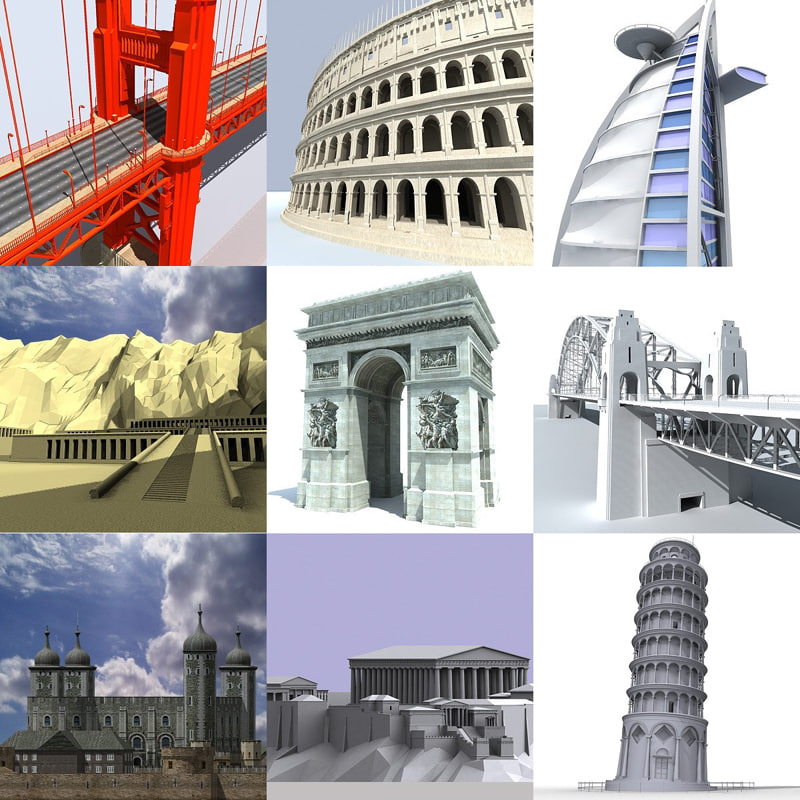 pack landmarks coliseum bridge 3d 3ds