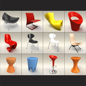 classic design furnitures pack 3d model