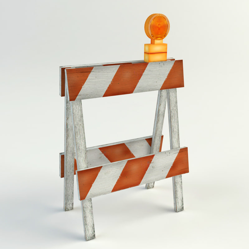 3d model traffic safety barriers cones