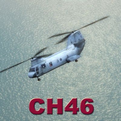 ch46 seaknight helicopter 3d model