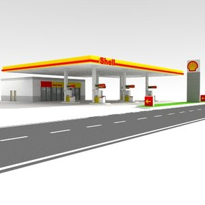 shell gas station obj
