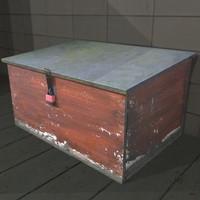 wooden trunk outdoor storage box 3d model