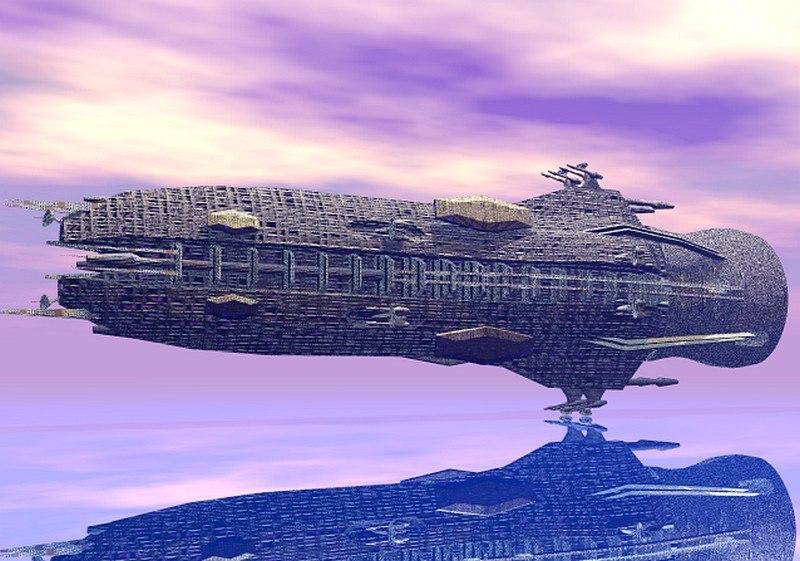 sci fi battleship ship 3d model