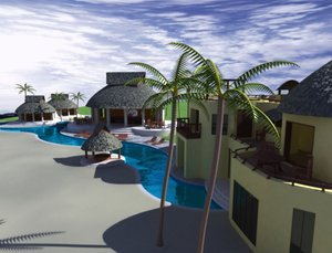 tropical resort 3d model