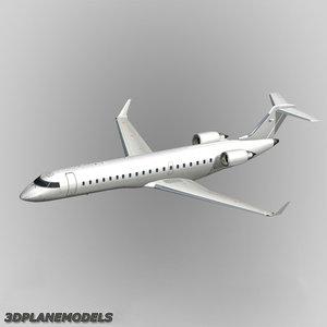 3d bombardier crj-700 generic white