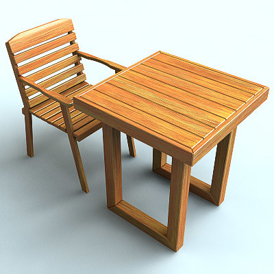 3d model wooden table chair
