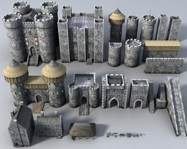 3d castle construction set