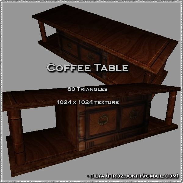 coffee table urban pack 3d model