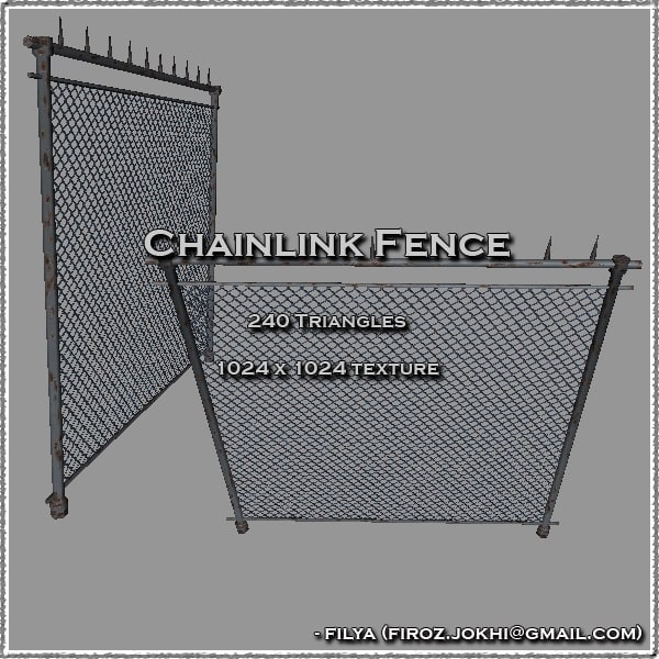 3d model chain link fence urban pack