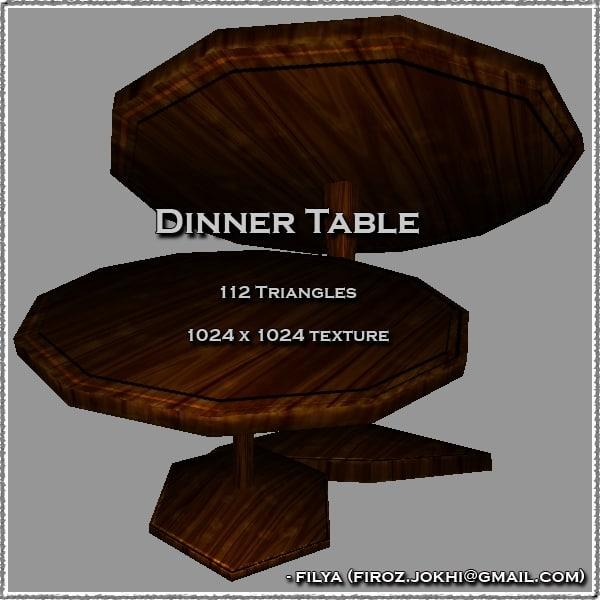 dinner table urban pack 3d model