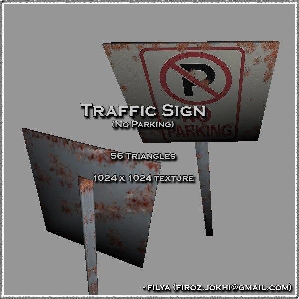 parking traffic sign urban pack 3d model