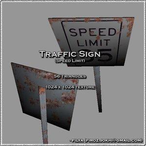 speed limit traffic sign 3d model