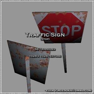 stop traffic sign urban pack 3d model