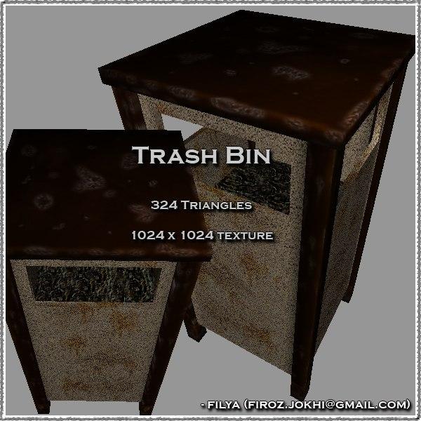 trash bin urban pack 3d 3ds