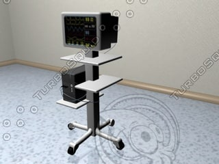 patient medical monitor screen 3d model