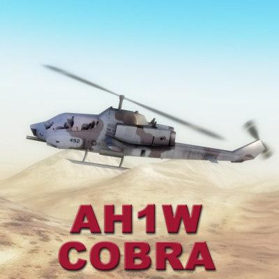gunship helicopter ah-1w cobras 3d fbx