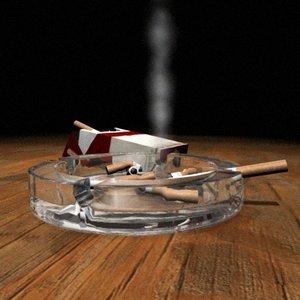 ashtray cigarettes 3d model
