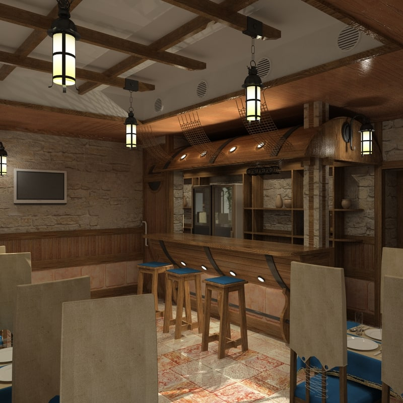3d model of bar pub