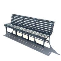 aluminium metal outdoor bench 3d 3ds