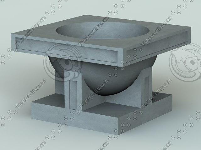 frank lloyd studio vase 3d max
