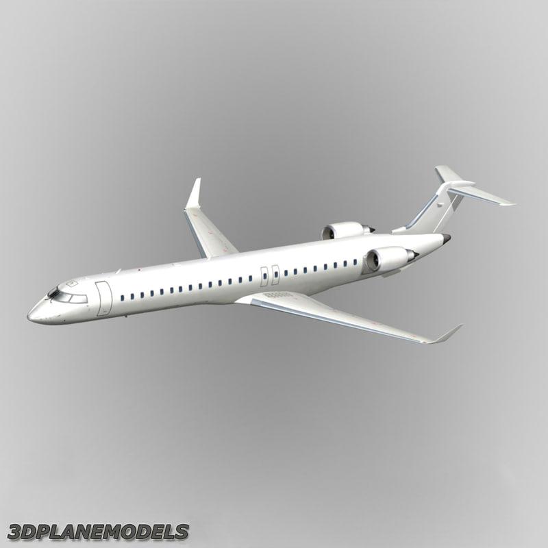 3d bombardier crj-705 generic white model